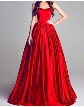 Sweetheart Simple Red Pleated Satin Long Prom Dress PM1381