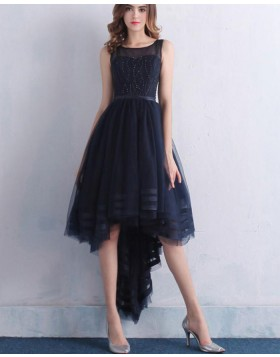 Jewel Navy Blue Beading High Low Tulle Prom Dress PM1382