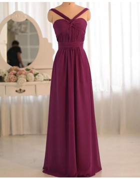 Ruched Crisscross Burgundy Chiffon Bridesmaid Dress PM1383