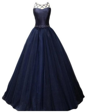 High Neck Beading Navy Blue Pleated Ball Gown Prom Dress PM1384