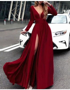 Deep V-neck Burgundy Satin Slit Prom Dress with Long Sleeves PM1385