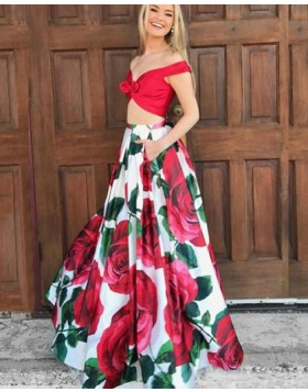 Two Piece Off the Shoulder Floral Print Prom Dress PM1386