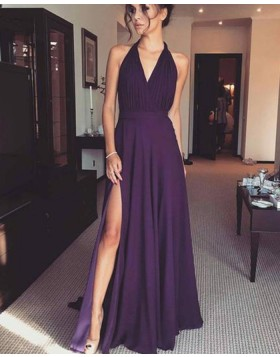 Simple Halter Purple Ruched Chiffon Prom Dress with Side Slit PM1387