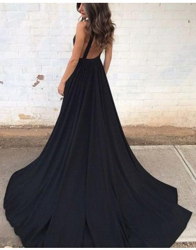 Deep V-neck Black Pleated Satin Prom Dress with Pockets PM1388
