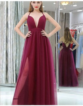Halter Burgundy Pleated Tulle Prom Dress with Side Slit PM1389