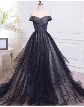 Off the Shoulder Ruched Tulle Black Ball Gown Evening Dress PM1390