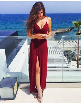 Two Piece Simple Burgundy Sheath Prom Dress with Side Slit PM1392