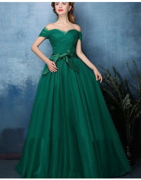 Off the Shoulder Green Ruched Tulle Long Prom Dress PM1393