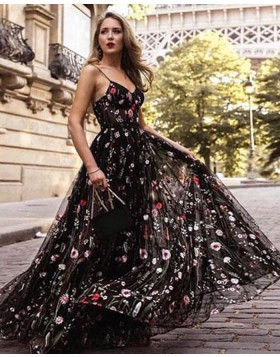 Spaghetti Straps Floral Lace Long Prom Dress PM1398