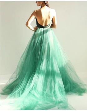 Sweetheart Black and Green Tulle Long Prom Dress with Open Back PM1399