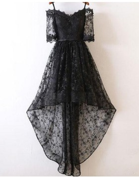 Cold Shoulder Black Lace High Low Prom Dress with Half Length Sleeves PM1400