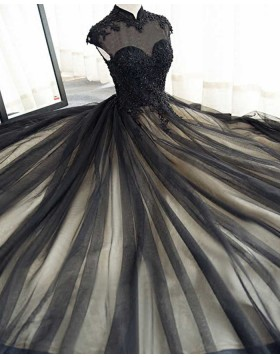 High Neck Appliqued Black Tulle Long Evening Dress PM1401