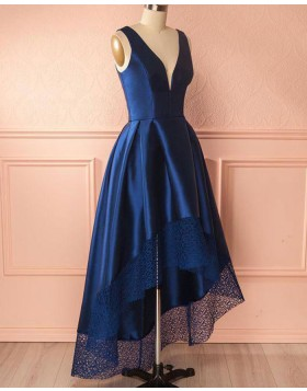 Deep V-neck Royal Blue High Low Prom Dress with Lace Hem PM1403