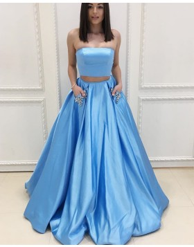 Strapless Sky Blue Two Piece Satin Prom Dress with Beading Pockets PM1405
