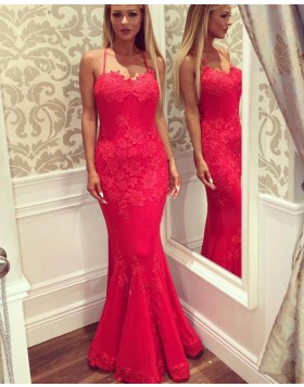 Spaghetti Straps Red Appliqued Satin Mermaid Prom Dress PM1406