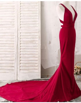 Simple Convertible Satin Mermaid Red Long Evening Dress PM1407