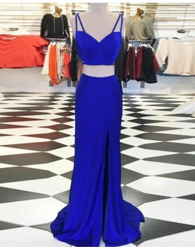 Double Spaghetti Straps Royal Blue Two Piece Satin Prom Dress with Side Slit PM1410