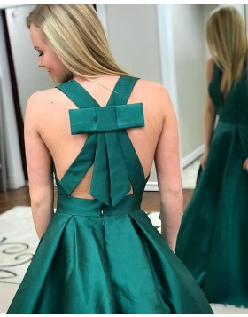 Simple Deep V-neck Green Satin Long Prom Dress with Pockets PM1411