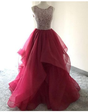 Burgundy Beading Bodice Burgundy Ruffled Ball Gown Prom Dress PM1412