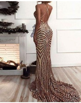 Elegant Spaghetti Straps Gold Sequined Mermaid Long Formal Dress PM1413