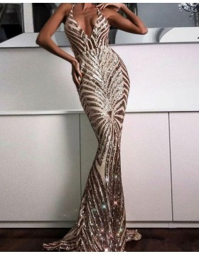 Elegant Spaghetti Straps Gold Sequined Mermaid Long Formal Dress PM1413