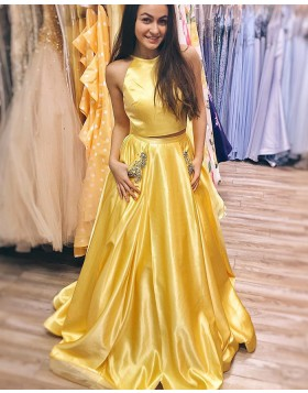 Simple Two Piece Yellow Satin Prom Dress with Beading Pockets PM1414 ... 524db6b4a