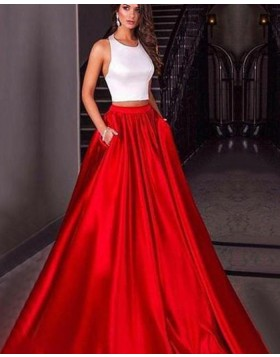Halter Two Piece Simple White & Red Satin Prom Dress with Pockets PM1418