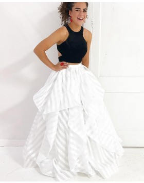 Two Piece Black & White Strips Ruffled Prom Dress PM1419