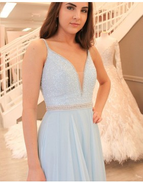 Spaghetti Straps Sky Blue Beading Bodice Tulle Long Prom Dress PM1420