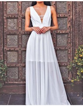 Deep V-neck Tulle Cutout White Pleated Prom Dress PM1426