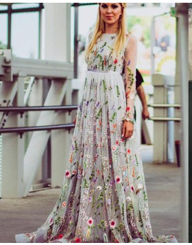 Jewel Floral Embroidery Pleated Formal Dress with Long Sleeves PM1427