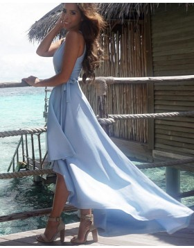 Simple V-neck Blue Pleated High Low Satin Prom Dress PM1431