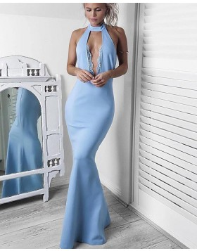 Sexy Halter Light Blue Satin Mermaid Formal Dress PM1432