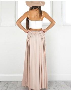 Two Piece Spaghetti Straps White & Blush Satin Prom Dress with Side Slit PM1433