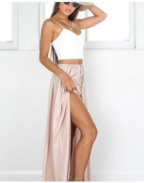 Two Piece Spaghetti Straps White & Blush Satin Prom Dress with Side Slit PM1433