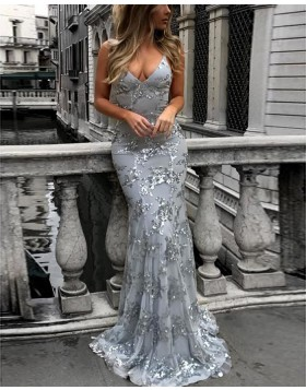 Spaghetti Straps Sequined Mermaid Dusty Blue Prom Dress PM1435