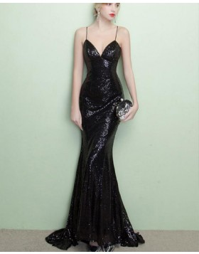 Spaghetti Straps Black Sequined Mermaid Evening Dress PM1436