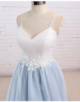 Spaghetti Straps White & Blue Tulle Prom Dress with Appliques PM1437