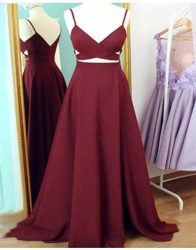 Spaghetti Straps Burgundy Cutout Simple Long Prom Dress PM1438
