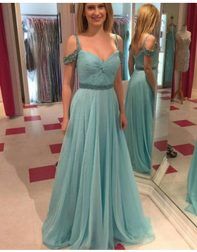 Simple Cold Shoulder Teal Tulle Beading Prom Dress PM1441