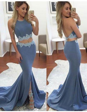 872b9b39 Halter Two Piece Appliqued Mermaid Blue Prom Dress with Slit PM1444