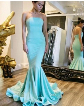 Simple Strapless Satin Cyan Mermaid Style Prom Dress PM1445