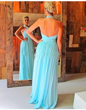 Simple Halter Cyan Chiffon Pleated Long Bridesmaid Dress PM1446