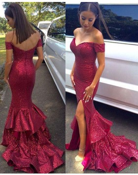 Off the Shoulder Sequined Red Mermaid Prom Dress with Side Slit PM1447