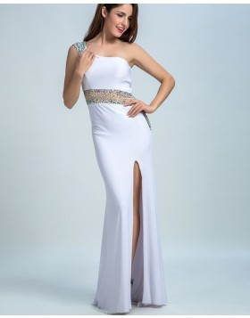 One Shoulder White Beading Chiffon Sheath Prom Dress with Side Slit PM1449