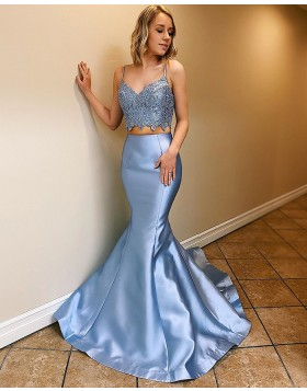 Two Piece Light Blue Scoop Neck Satin Mermaid Prom Dress PM1801