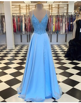 Spaghetti Straps Cyan Lace Bodice Satin Prom Dress with Slit PM1803