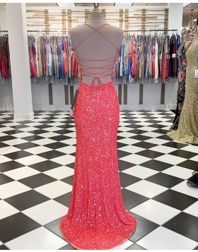 Spaghetti Straps Coral Pink Sequin Mermaid Prom Dress with Slit PM1804