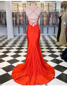 Simple Spaghetti Straps Orange Satin Mermaid Prom Dress PM1806