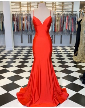 Simple Spaghetti Straps Orange Satin Mermaid Prom Dress PM1806